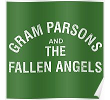 Gram Parsons and the Fallen Angels (white - distressed) Poster