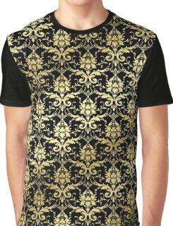 Damask Glitter Gold Classic Elegant Black Graphic T-Shirt