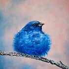 Small Indigo bird on a tree by Diana Hlevnjak