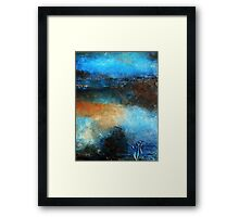 Contemporary Abstract Fluid Acrylic Painting ENDEAVOR INTO THE NIGHT Framed Print