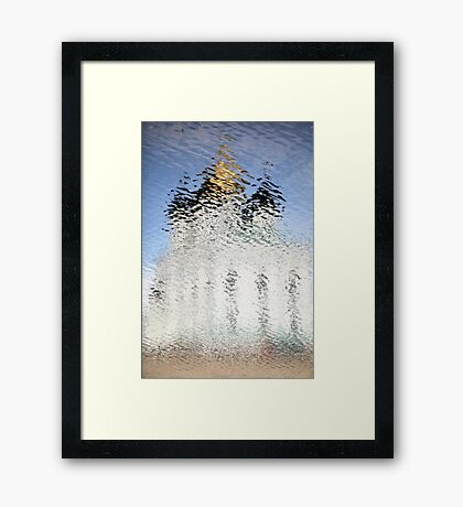 Church of gold reflection ripples Framed Print