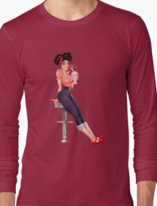 Retro Pinup Milkshake Girl Long Sleeve T-Shirt