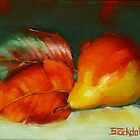 Autumn Pear Leaves And Fruit by Margaret Stockdale
