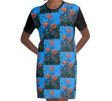 Red Poppies: Painting of Red Poppy Flowers, Flower Art Graphic T-Shirt Dress