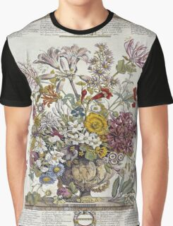 Robert Furber - Twelve Months Of Flowers. Still life with flowers: flowers, bumblebee , carnations, peonies, roses, tulips,  marigolds,  life, garden, blossom, vase Graphic T-Shirt
