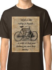 Vintage Tricycle Motivational Quotes Antique Dictionary Book Page Art Classic T-Shirt