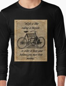 Vintage Tricycle Motivational Quotes Antique Dictionary Book Page Art Long Sleeve T-Shirt