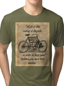 Vintage Tricycle Motivational Quotes Antique Dictionary Book Page Art Tri-blend T-Shirt