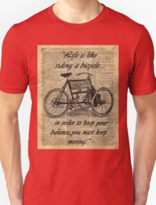 Vintage Tricycle Motivational Quotes Antique Dictionary Book Page Art Unisex T-Shirt