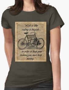 Vintage Tricycle Motivational Quotes Antique Dictionary Book Page Art Womens Fitted T-Shirt