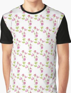 Watercolor Sweet Pea Flower Pattern Graphic T-Shirt
