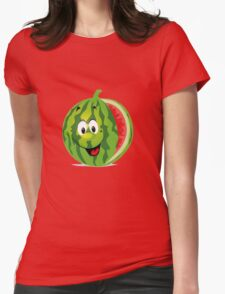 smiling watermelon, cartoon Womens Fitted T-Shirt