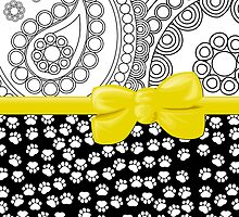 Ribbon, Bow, Dog Paws, Paisley - White Black Yellow by sitnica
