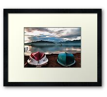 Hulls of Boats And Marmaris Winter Seascape Framed Print
