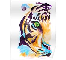'Tiger in Blue' Watercolour painting Poster
