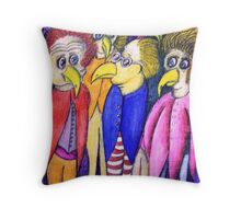Bizarre birds Surrealist art Throw Pillow
