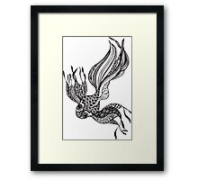 Gold Fish #2 Black and White Doodle Art Framed Print