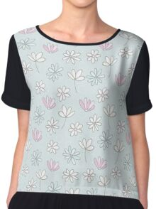 Modern abstract pastel pink blue trendy floral pattern Chiffon Top