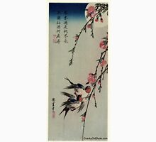Moon Swallows and Peach Blossoms - Hiroshige Ando - 1850.tif Unisex T-Shirt