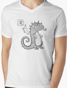 Cartoon dragon.  Mens V-Neck T-Shirt