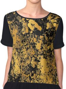 Black and gold modern abstract marble pattern Chiffon Top
