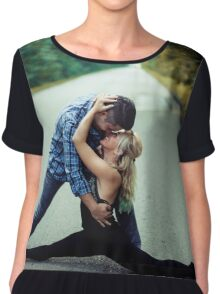 Young man kissing sweetheart in the middle of the street Chiffon Top