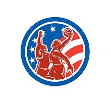 American Basketball Player Dunk Block Circle Retro by patrimonio