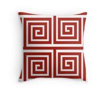 Red Greek Pattern Throw Pillow