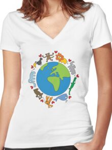 We Love Our Planet! Women's Fitted V-Neck T-Shirt