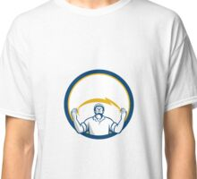 Electrician Lightning Bolt Hands Circle Retro Classic T-Shirt