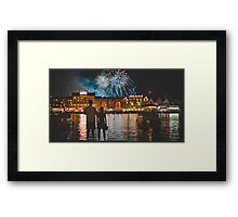 two couple watching fireworks Framed Print