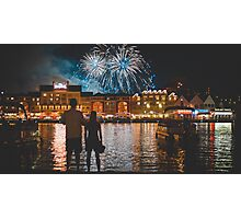 two couple watching fireworks Photographic Print