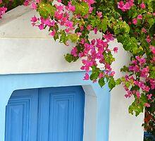 Santorini doorway by AHigginsPhoto