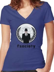 FSOCIETY MR. ROBOT Women's Fitted V-Neck T-Shirt
