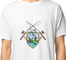 Fishing Rod Reel Blue Marlin Beer Bottle Coat of Arms Drawing Classic T-Shirt