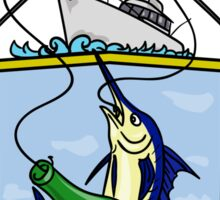 Fishing Rod Reel Blue Marlin Beer Bottle Coat of Arms Drawing Sticker