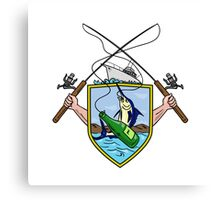 Fishing Rod Reel Blue Marlin Beer Bottle Coat of Arms Drawing Canvas Print