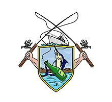Fishing Rod Reel Blue Marlin Beer Bottle Coat of Arms Drawing Photographic Print
