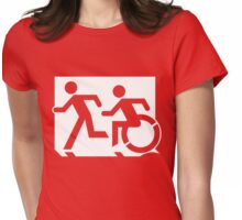 Emergency Exit Sign, with the Accessible Means of Egress Icon and Running Man, part of the Accessible Exit Sign Project Womens Fitted T-Shirt