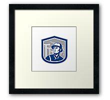 Power Lineman Repairman Shield Retro Framed Print