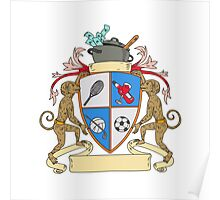 Monkey Money Cook Pot Sports Wine Coat of Arms Drawing Poster