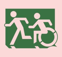 Emergency Exit Sign, with the Accessible Means of Egress Icon and Running Man, part of the Accessible Exit Sign Project One Piece - Long Sleeve