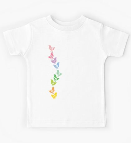 Balancing Retro Rainbow Chicks Kids Tee