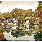 A digital painting of Clare College and Bridge, Cambridge, England. by Dennis Melling