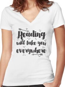 Reading will take you everywhere  Women's Fitted V-Neck T-Shirt