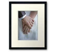 Wedding couple holding hands Framed Print