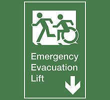 Emergency Evacuation Lift Sign, Left Hand Down Arrow, with the Accessible Means of Egress Icon and Running Man, part of the Accessible Exit Sign Project by Egress Group Pty Ltd