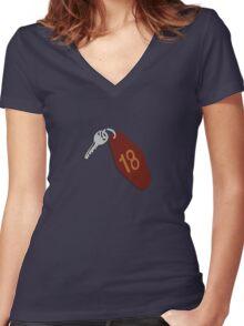 Motel Keys Large Women's Fitted V-Neck T-Shirt