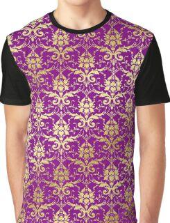 Damask Glitter Gold Royal Purple Classic Elegant Graphic T-Shirt