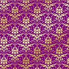 Damask Glitter Gold Royal Purple Classic Elegant by Beverly Claire Kaiya